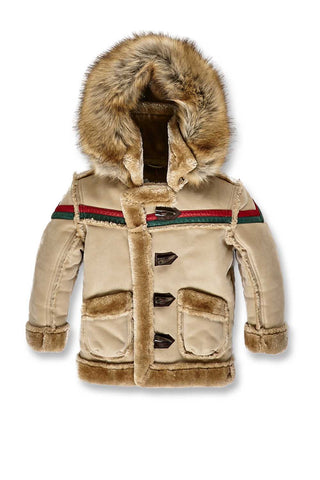 Kids Tuscany Striped Shearling Jacket (Latte)