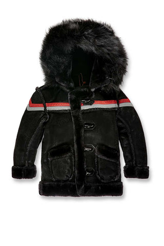 Kids Tuscany Striped Shearling Jacket (Black)