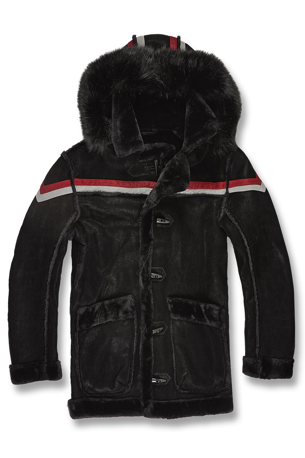 Tuscany Striped Shearling Jacket (Black)