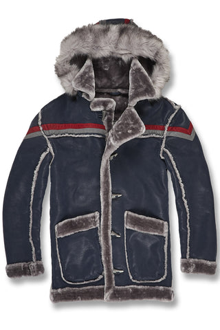 Tuscany Striped Shearling Jacket (Navy)