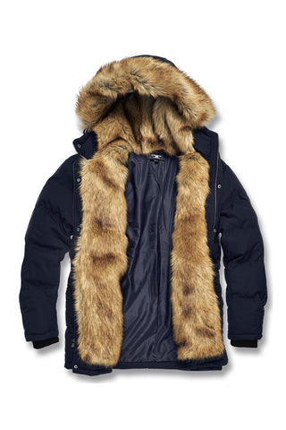 Fargo Fur Lined Quilted Parka (Navy)