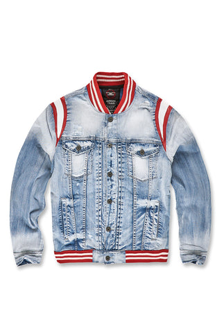 Jordan Craig - Barcelona Denim Varsity Jacket (Ice Blue)