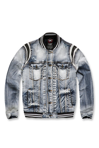 Jordan Craig - Barcelona Denim Varsity Jacket (Aged Wash)