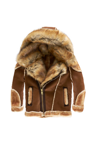 Kids El Jefe Shearling Moto Jacket (Walnut)