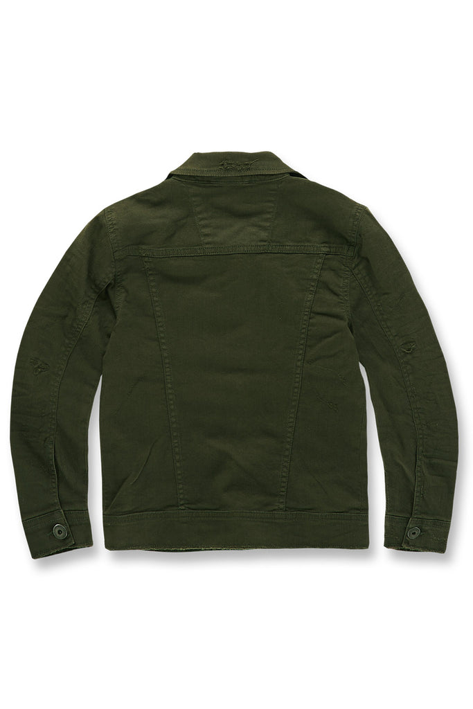 Jordan Craig - Kids Tribeca Twill Trucker Jacket (Army Green)