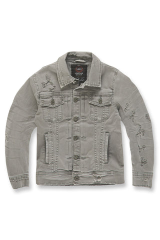 Jordan Craig - Kids Tribeca Twill Trucker Jacket (Light Grey)