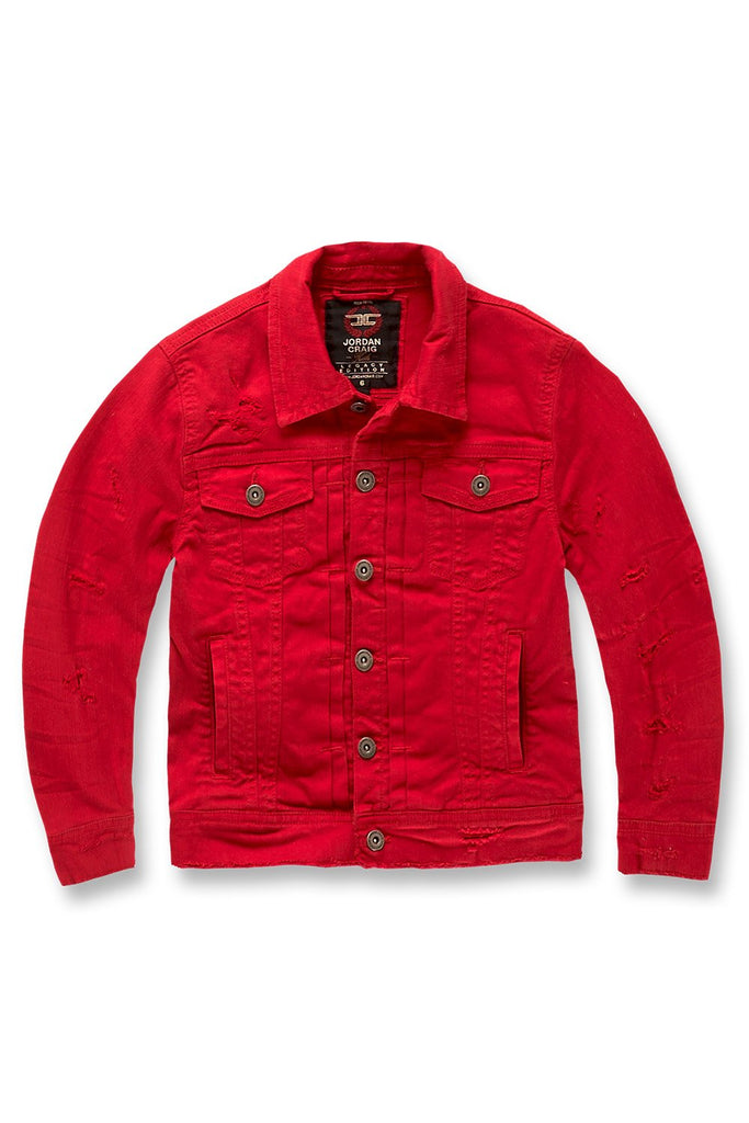 Kids Tribeca Twill Trucker Jacket (Red)