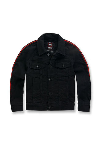 Jordan Craig - Kids Grand Prix Striped Denim Jacket (Jet Black)