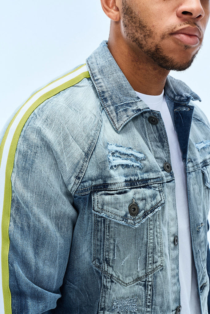 Jordan Craig - Grand Prix Striped Denim Jacket (Aged Wash)