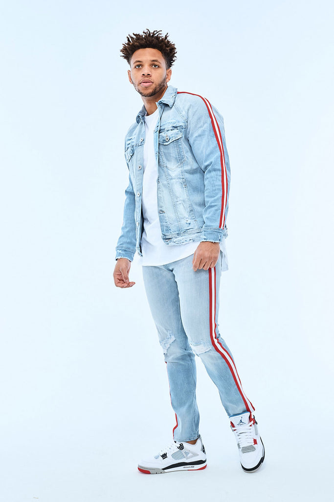 Jordan Craig - Sean - Grand Prix Striped Denim (Ice Blue)