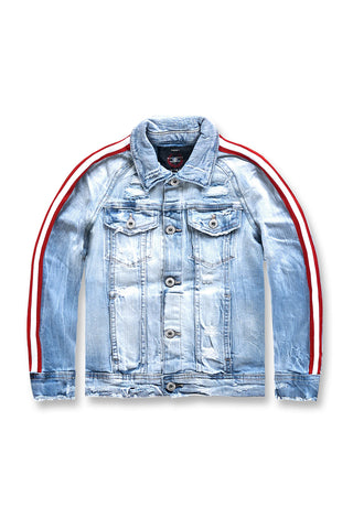 Kids Grand Prix Striped Denim Jacket (Ice Blue)