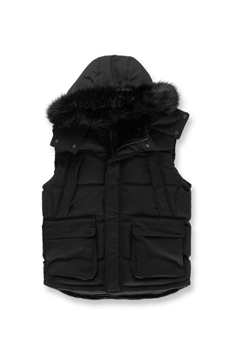 Yukon Fur Lined Puffer Vest (Black)