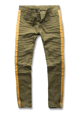 Sean - Contrast Stripe Denim (Olive)