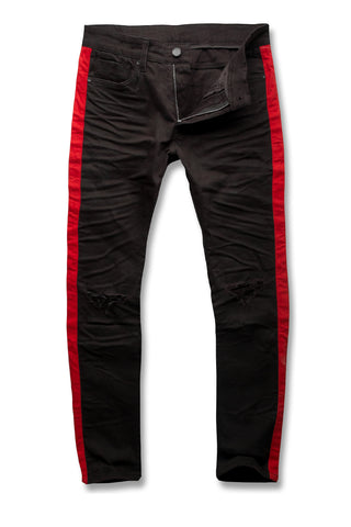 Sean - Contrast Stripe Denim (Pitch Black)