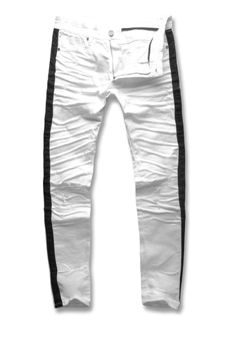 Sean - Contrast Stripe Denim (White)