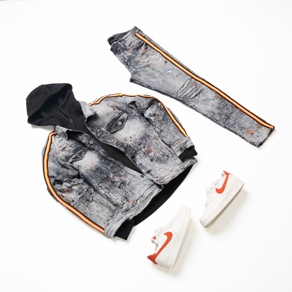 Sparta Striped Denim Jacket (Starfish)