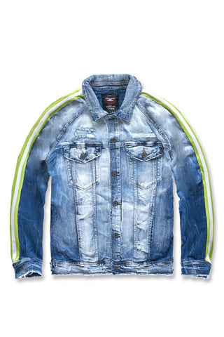 Grand Prix Striped Denim Jacket (Aged Wash)