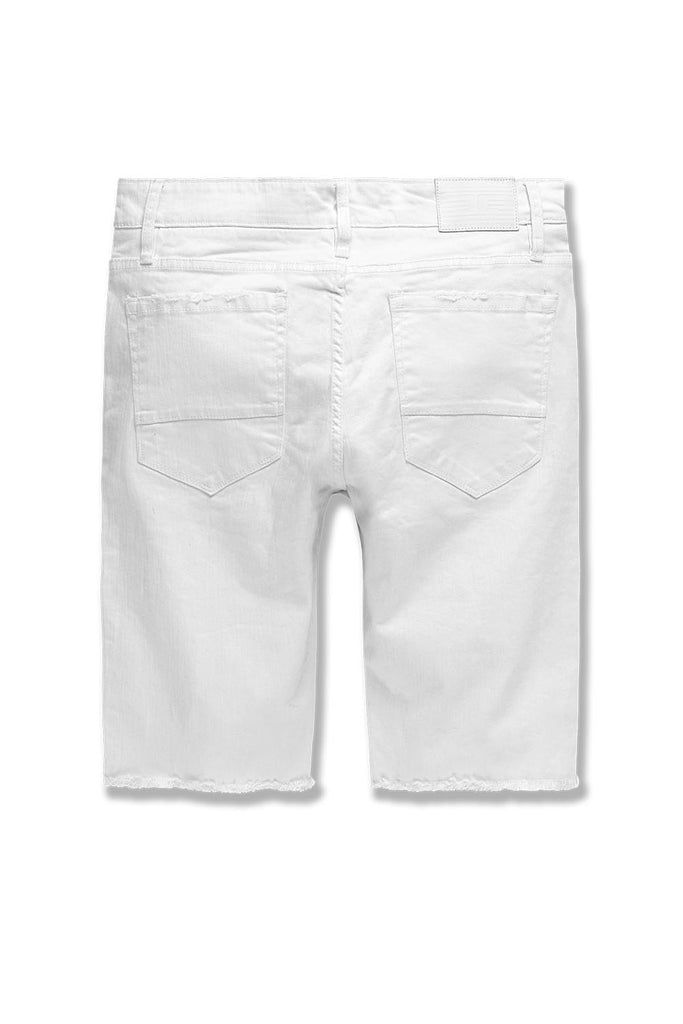 Big Men's Vegas Striped Denim Shorts (White)