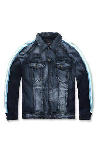 Grand Prix Striped Denim Jacket (Midnight Carnival)