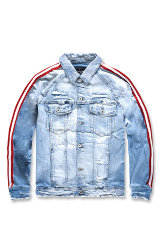 Grand Prix Striped Denim Jacket (Ice Blue)