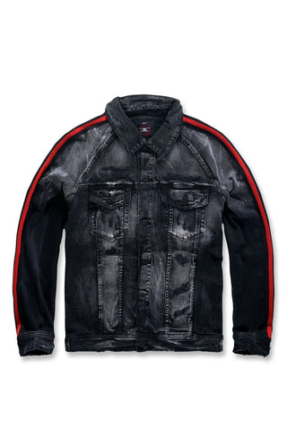 Grand Prix Striped Denim Jacket (Black Shadow)