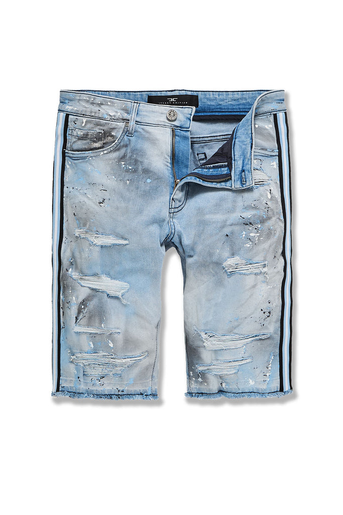 Sparta Striped Denim Shorts (University Blue)