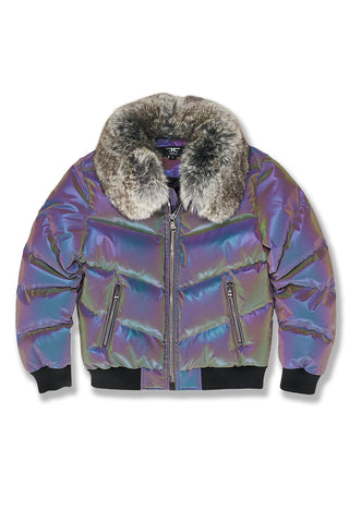 Kids Oil Spill Puffer Jacket (Iridescent)
