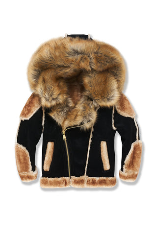 Kids El Jefe Shearling Moto Jacket (Black Coffee)
