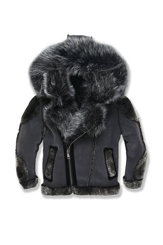 Kids El Jefe Shearling Moto Jacket (Smoke)