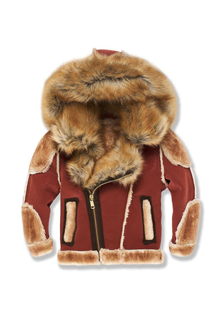 Kids El Jefe Shearling Moto Jacket (Brick)