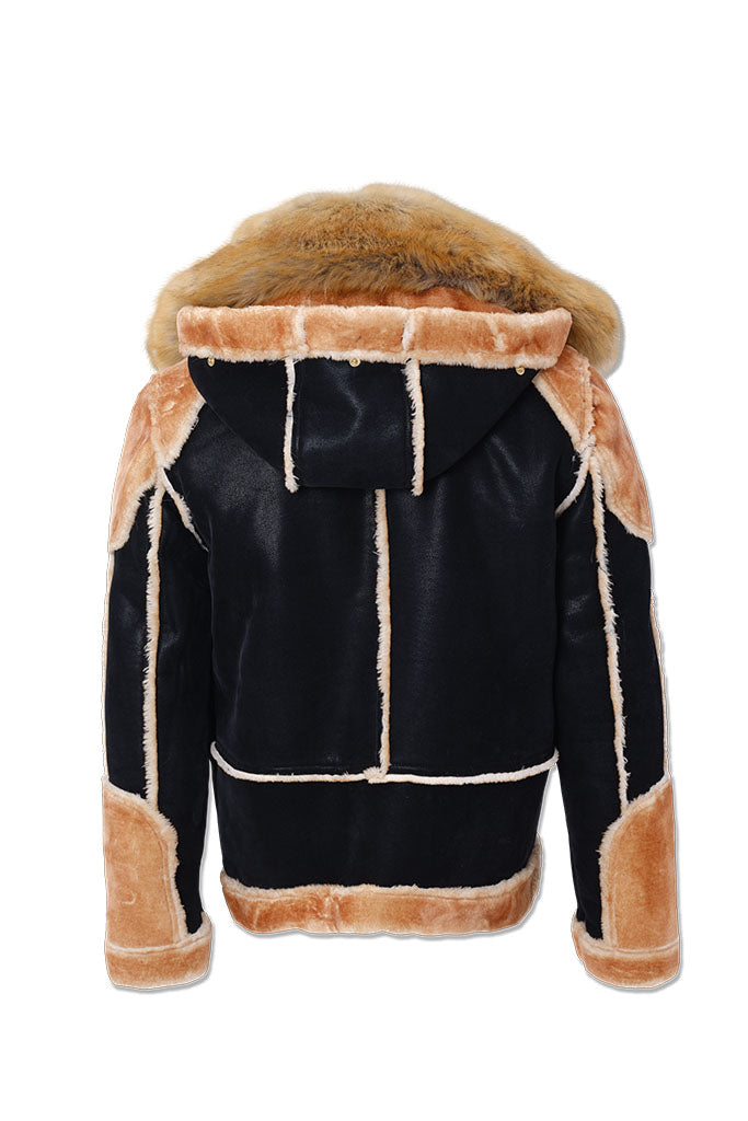 Big Men's El Jefe Shearling Moto Jacket (Black Coffee)