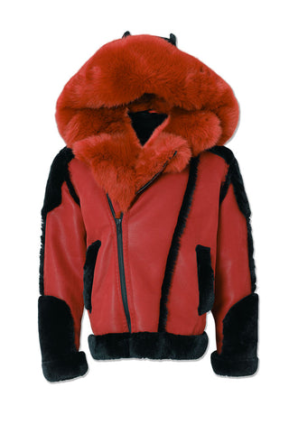 Anchorage Shearling Moto Jacket (Red)