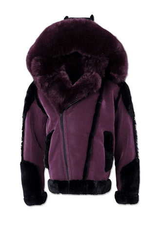Anchorage Shearling Moto Jacket (Wine)