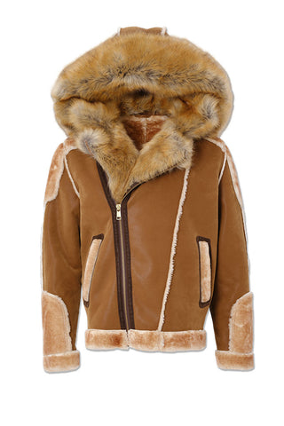 Big Men's El Jefe Shearling Moto Jacket (Walnut)