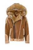 El Jefe Shearling Moto Jacket (Walnut)