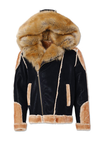 El Jefe Shearling Moto Jacket (Black Coffee)