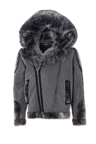 Big Men's El Jefe Shearling Moto Jacket (Smoke)