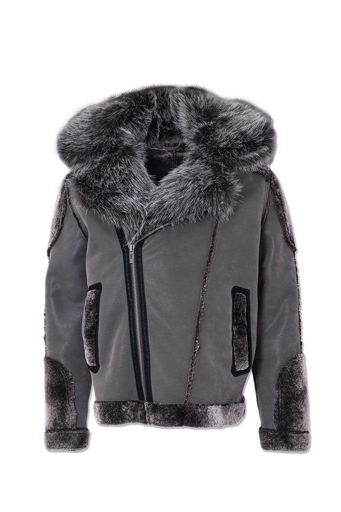 El Jefe Shearling Moto Jacket (Smoke)