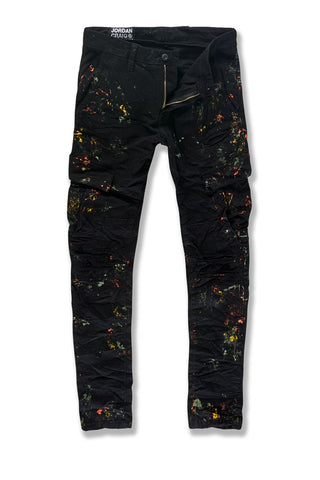 Sean - Highland Stacked Cargo Pants (Black Shadow)