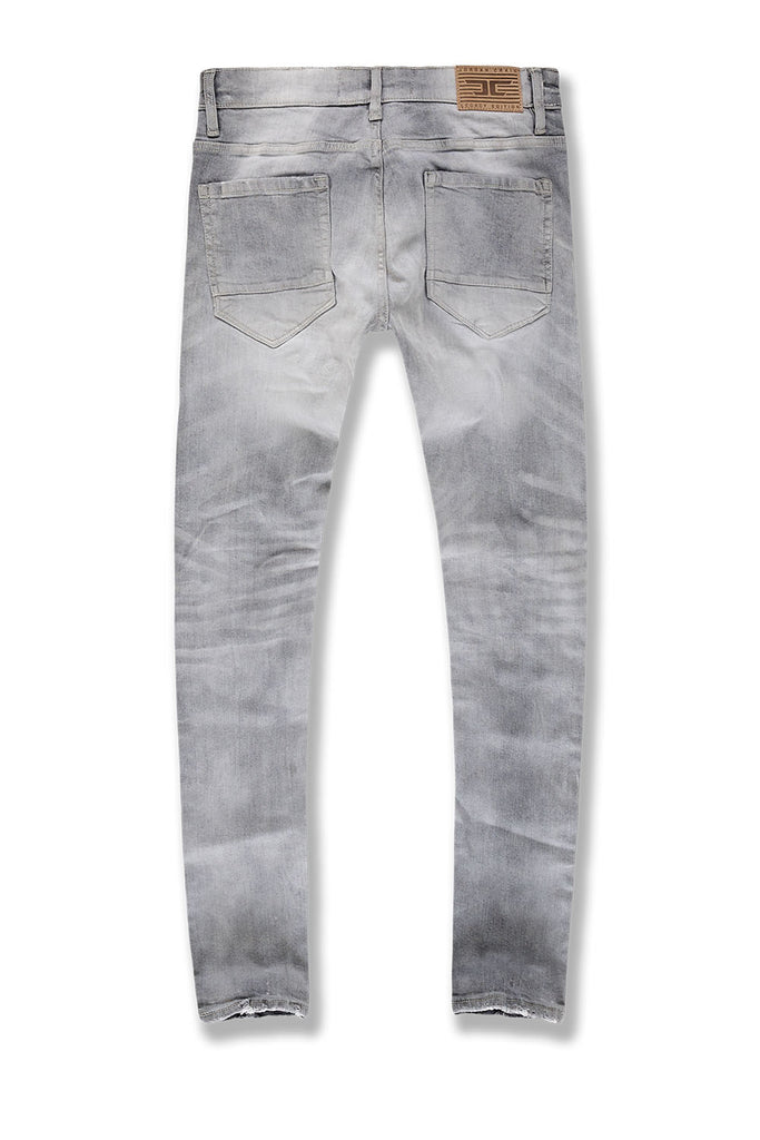 Sean - Saratoga Striped Denim (Cement Wash)