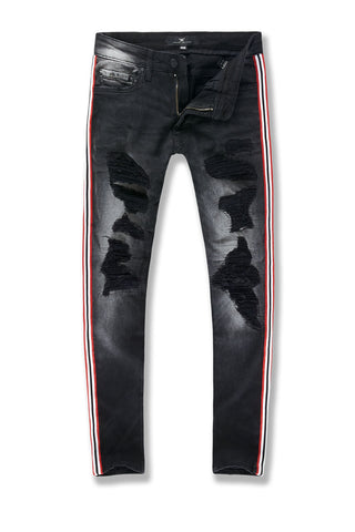 Sean - Saratoga Striped Denim (Black Shadow)
