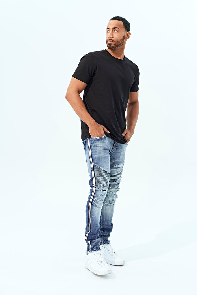 Jordan Craig - Sean - Diablo Striped Biker Denim (Aged Wash)