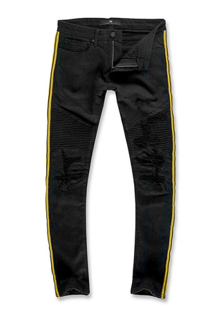 Jordan Craig - Sean - Diablo Striped Biker Denim (Jet Black)