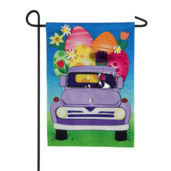 Floral Egg Truck Easter Garden Flag Burlap Evergreen - D & D Collectibles