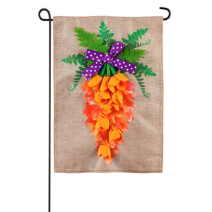 Carrot In Bloom Easter Burlap Garden Flag Applique Evergreen