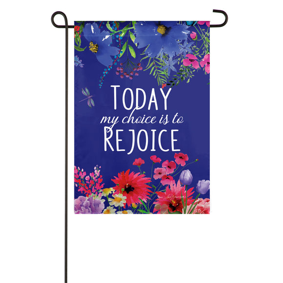 My Choice Is To Rejoice Garden Flag Applique Evergreen