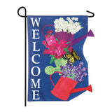 Colorful Stacked Watering Cans Appliqued Garden Flag - D & D Collectibles