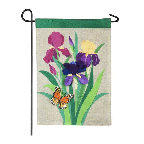 Beautiful Iris Garden Burlap Garden Flag Evergreen - D & D Collectibles
