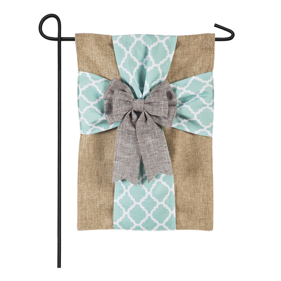 Elegant Cross Soft Burlap Easter Garden Flag Evergreen - D & D Collectibles