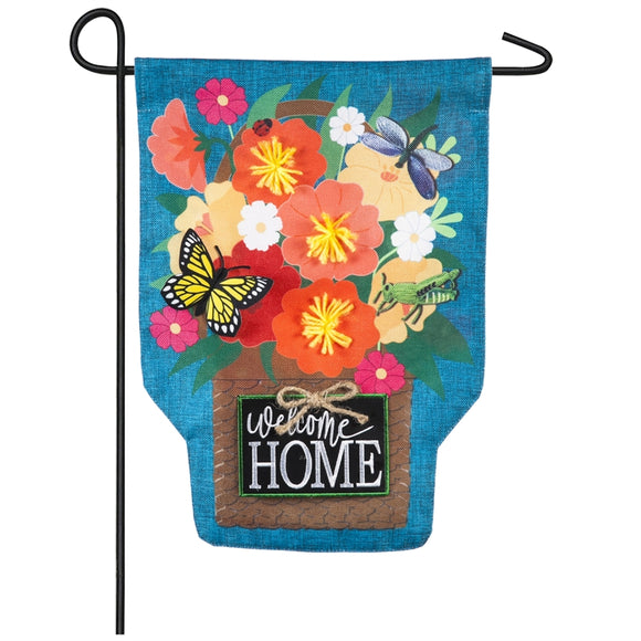 Welcome Home Bouquet Burlap Garden Flag Evergreen - D & D Collectibles